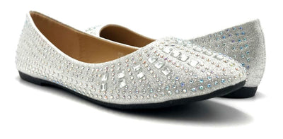 Sup Trading FU-2001 Silver Color Ballerina Both Shoes together, Women Shoes