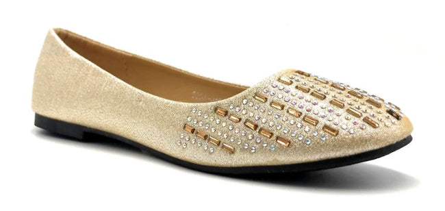 Sup Trading Soda-015 Gold Color Ballerina Right Side View, Women Shoes