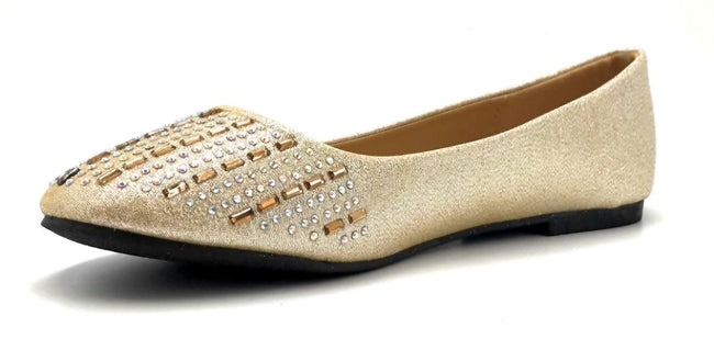 Sup Trading Soda-015 Gold Color Ballerina Left Side view, Women Shoes