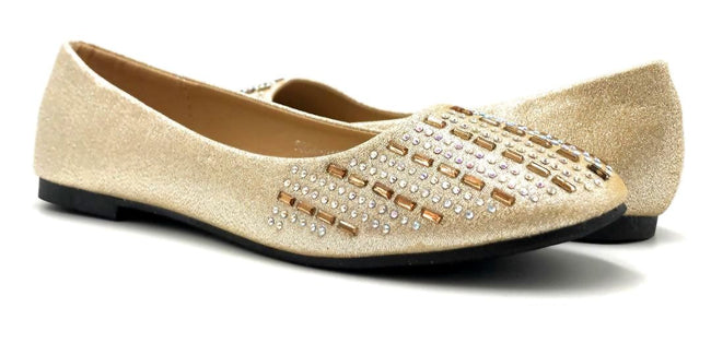 Sup Trading Soda-015 Gold Color Ballerina Both Shoes together, Women Shoes