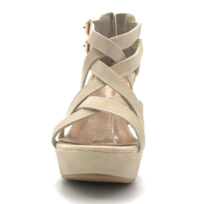 Top Moda Jessie-1 Beige Color Wedge Shoes for Women