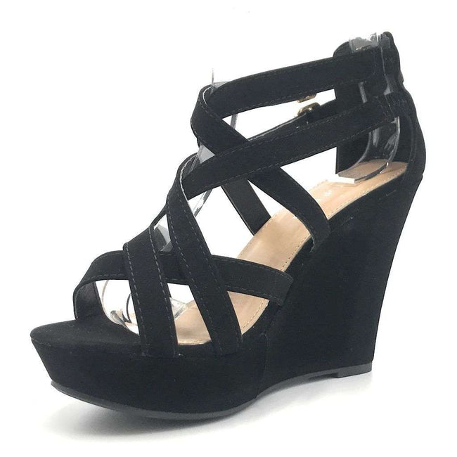 Top Moda Jessie-1 Black Color Wedge Shoes for Women