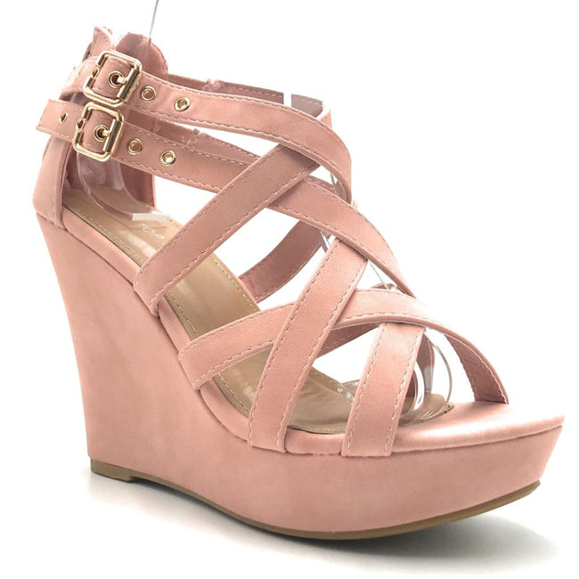 Top Moda Jessie-1 Blush Color Wedge Shoes for Women