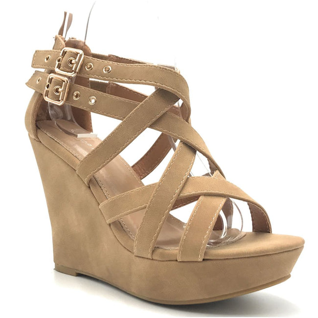 Top Moda Jessie-1 Tan Color Wedge Shoes for Women