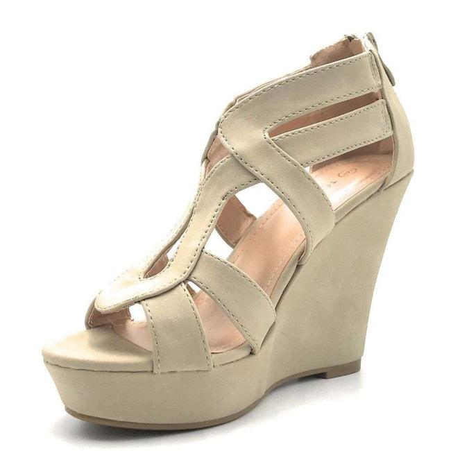 Top Moda Lindy-3 Beige Color Wedge Shoes for Women