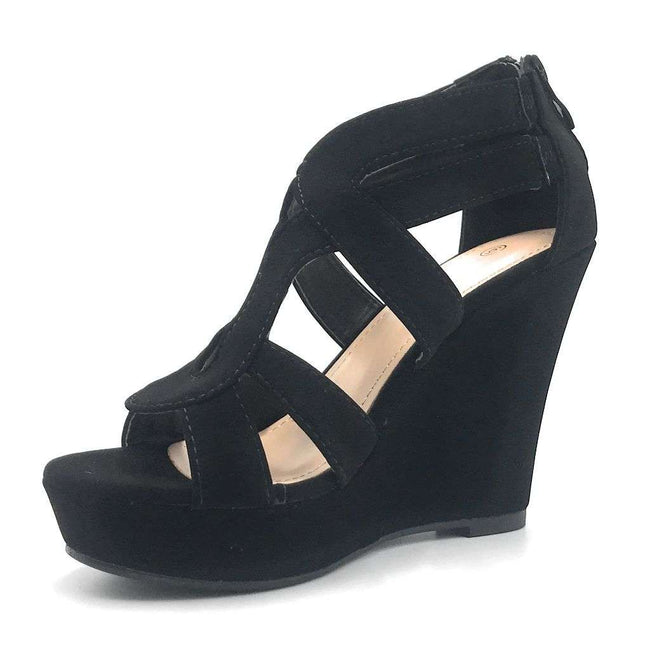 Top Moda Lindy-3 Black Color Wedge Shoes for Women