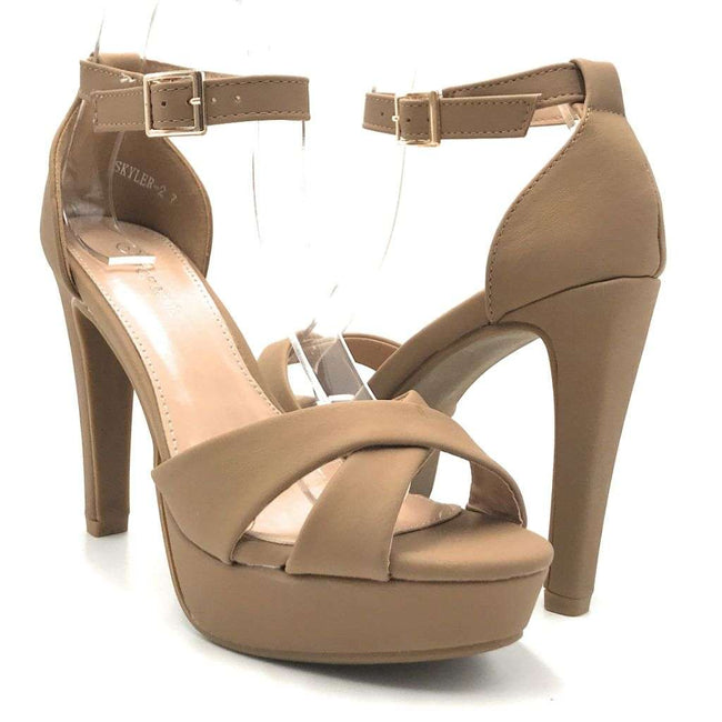 Top Moda Skyler-2 Tan Color Heels Shoes for Women