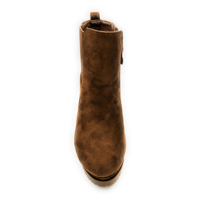 Top Moda Teca-5 Tan Su Color Boots Front View, Women Shoes