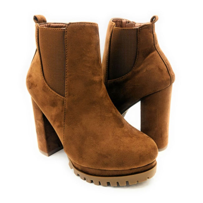 Top Moda Teca-5 Tan Su Color Boots Both Shoes together, Women Shoes