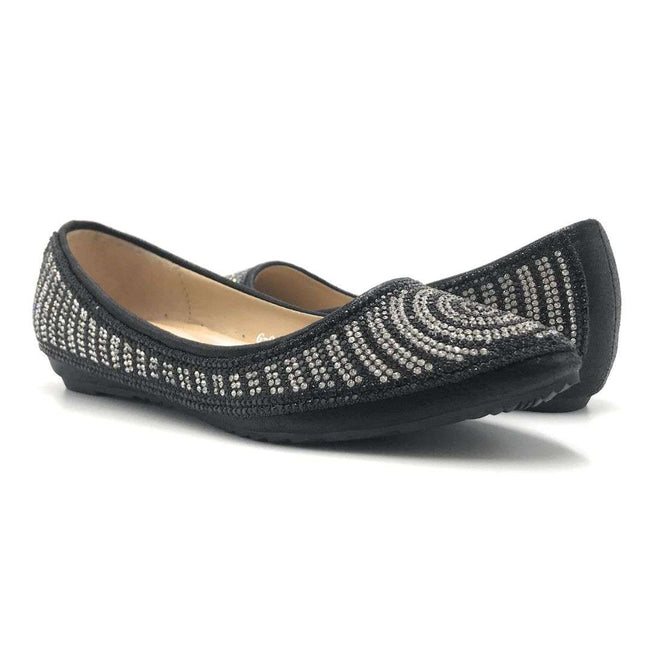 WK G-9 Black Color Ballerina Shoes for Women
