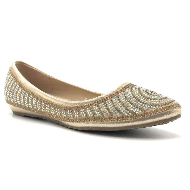 WK G-9 Gold Color Ballerina Shoes for Women