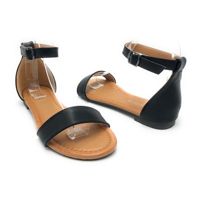 Weeboo Honey-12 Black Color Flat-Sandals Shoes for Women