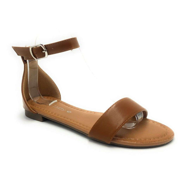 Weeboo Honey-12 Cognac Color Flat-Sandals Shoes for Women