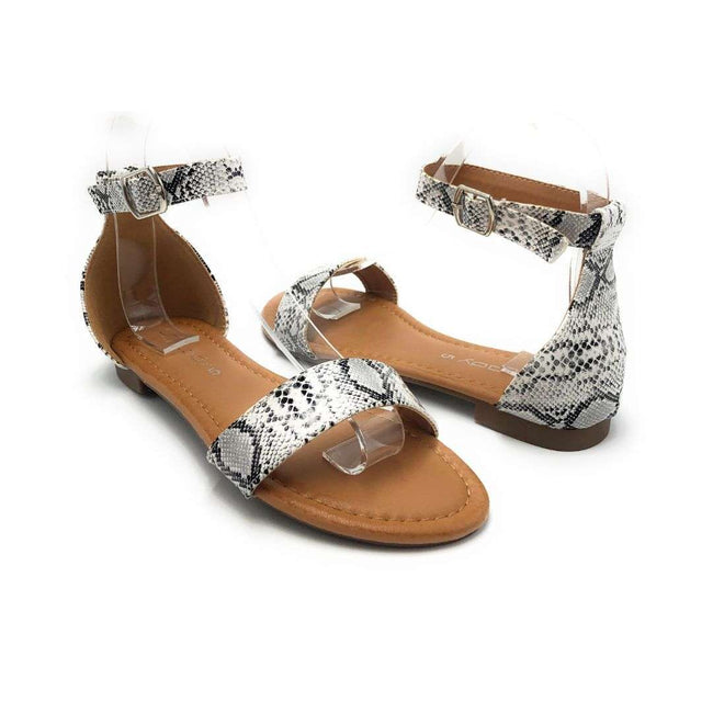 Weeboo Honey-12 Snake Color Flat-Sandals Shoes for Women