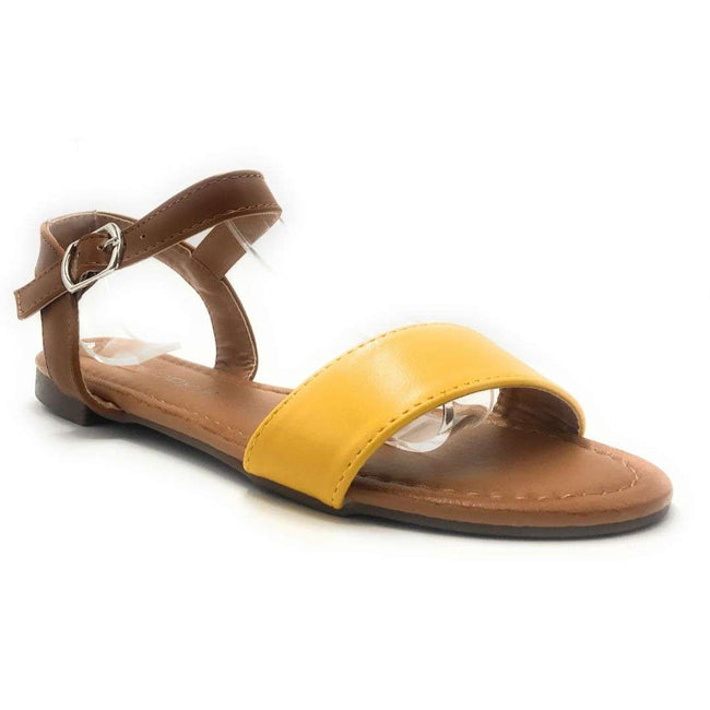 Weeboo Honey-13 Yellow Color Flat-Sandals Shoes for Women