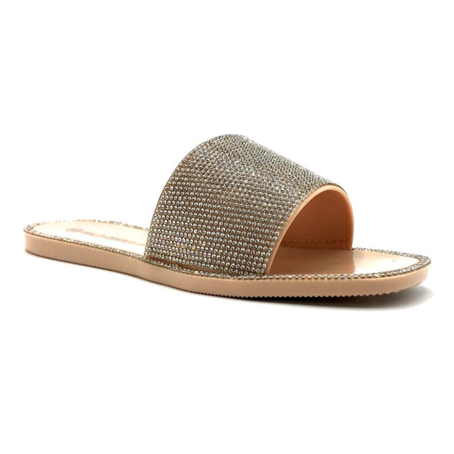 Wild Diva Jacelyn-01 Nude Color Flat-Sandals Right Side View, Women Shoes