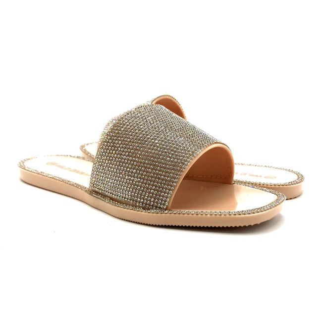 Wild Diva Jacelyn-01 Nude Color Flat-Sandals Both Shoes together, Women Shoes