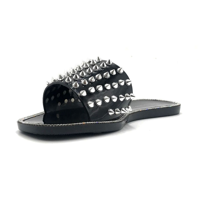Wild Diva Jacelyn-03 Black Color Flat-Sandals Left Side view, Women Shoes