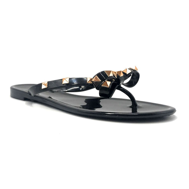 Wild Diva JoJo-01 Black Color Flat-Sandals Right Side View, Women Shoes