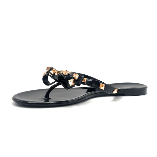 Wild Diva JoJo-01 Black Color Flat-Sandals Left Side view, Women Shoes