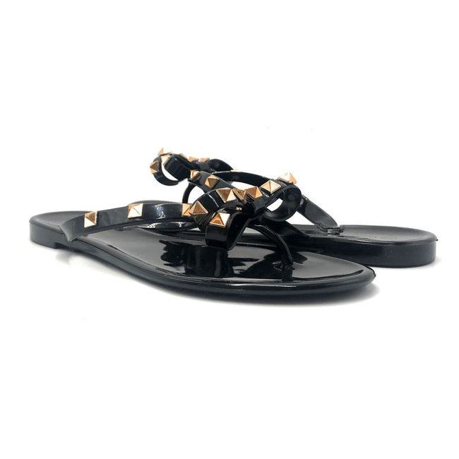 Wild Diva JoJo-01 Black Color Flat-Sandals Both Shoes together, Women Shoes