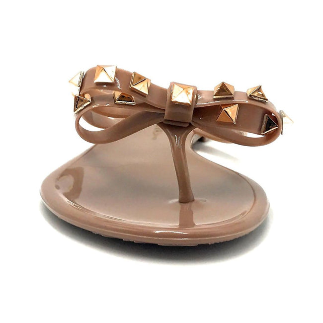 Wild Diva JoJo-01 Mocha Color Flat-Sandals Front View, Women Shoes