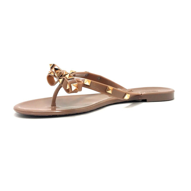 Wild Diva JoJo-01 Mocha Color Flat-Sandals Left Side view, Women Shoes
