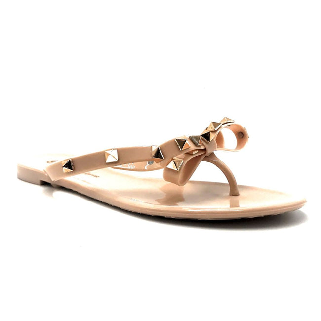 Wild Diva JoJo-01 Nude Color Flat-Sandals Right Side View, Women Shoes