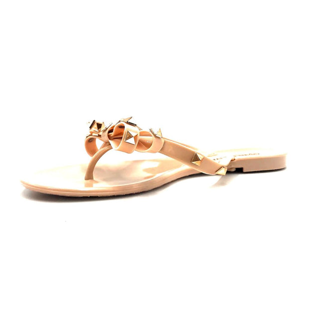 Wild Diva JoJo-01 Nude Color Flat-Sandals Left Side view, Women Shoes
