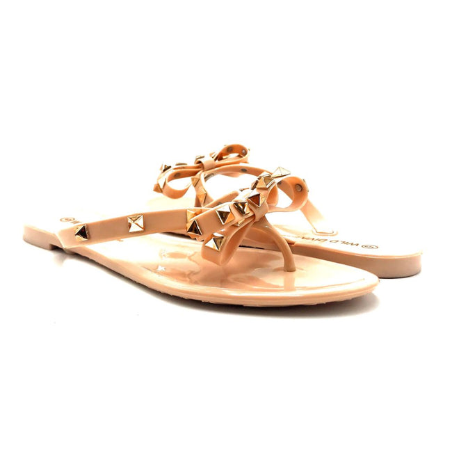Wild Diva JoJo-01 Nude Color Flat-Sandals Both Shoes together, Women Shoes