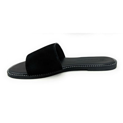 Wild Diva Snow-11A Black NUB Color Flat-Sandals Right Side View, Women Shoes