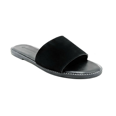 Wild Diva Snow-11A Black NUB Color Flat-Sandals Left Side view, Women Shoes