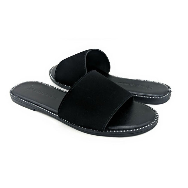 Wild Diva Snow-11A Black NUB Color Flat-Sandals Both Shoes together, Women Shoes