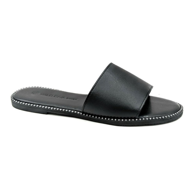 Wild Diva Snow-11A Black PU Color Flat-Sandals Left Side view, Women Shoes