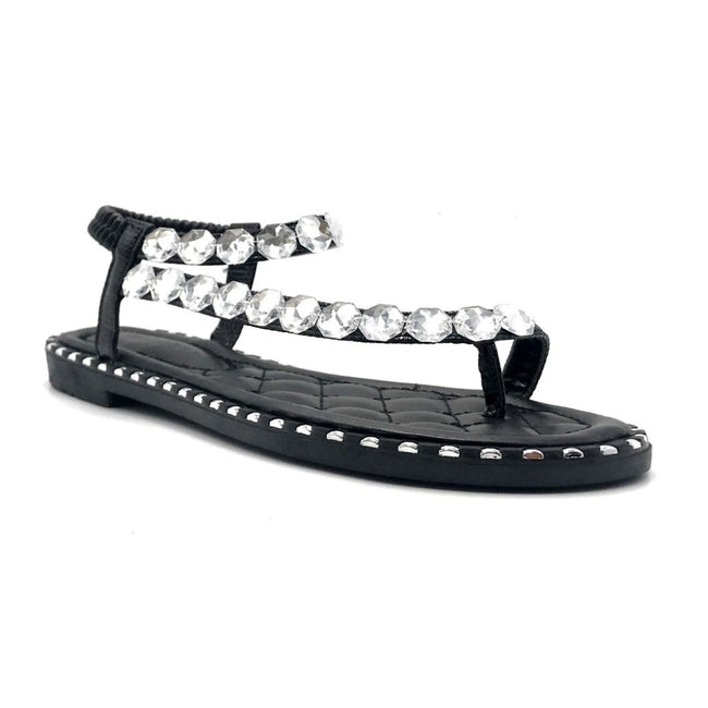 Wild Diva TIA-15 Black Color Flat-Sandals Right Side View, Women Shoes