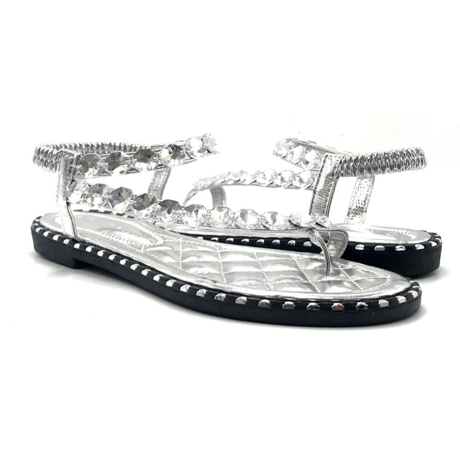 Wild Diva TIA-15 Silver Color Flat-Sandals Both Shoes together, Women Shoes