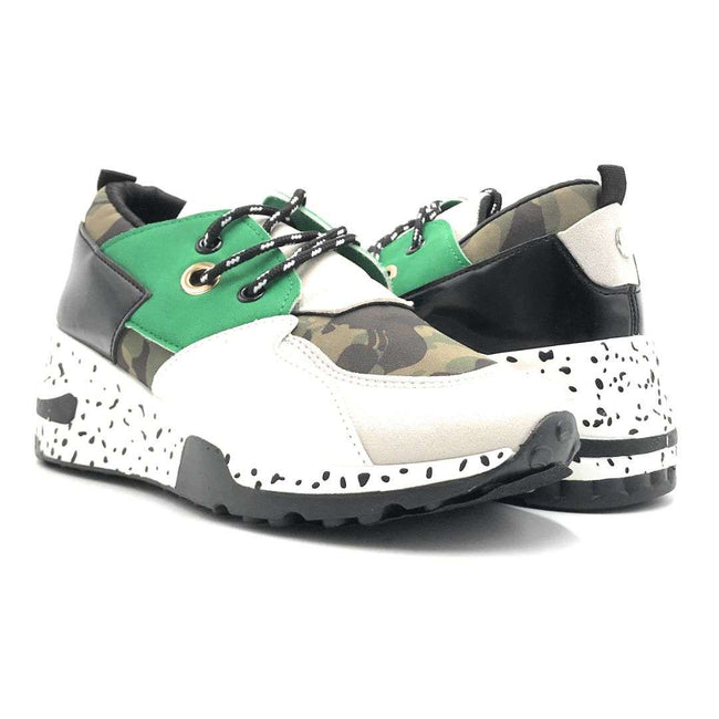 Yoki Galaxy-1 Camouflage Green Color Fashion Sneaker Shoes for Women