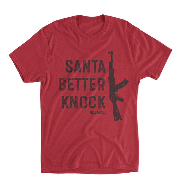 GUNFU HOLIDAY TEE - SANTA BETTER KNOCK (M & L only)