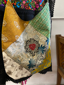Silk Sari Purse W/ Crystal Heart Appliqué