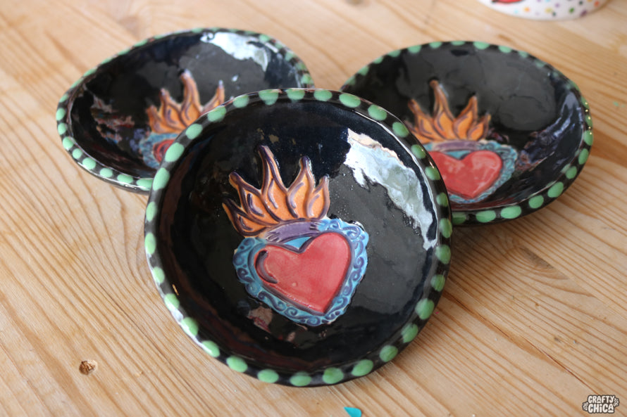 Flaming Heart Clay Bowl