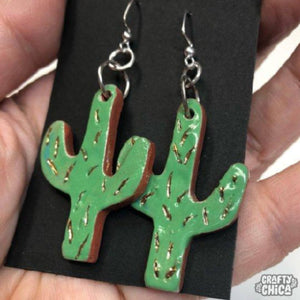 Clay Cactus Earrings w/ 14k Gold