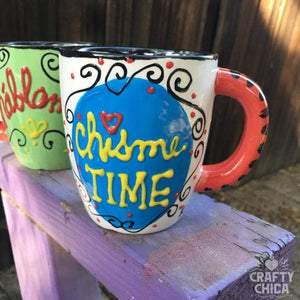 Chisme Time Handpainted Mug