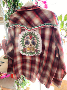 Upcycled Shirt: Sugar Skull