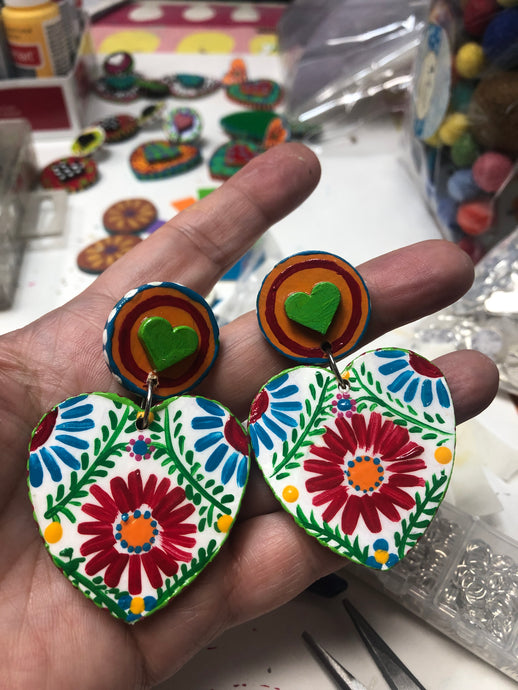 Jumbo Las Flores Heart Earrings