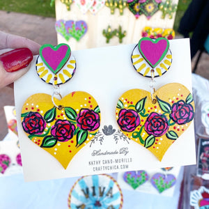 Las Flores Heart Earrings Yellow