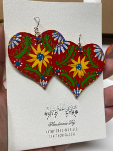Flores Heart Earrings Red