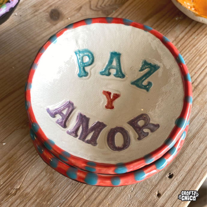 Paz y Amor Clay Ring Dish