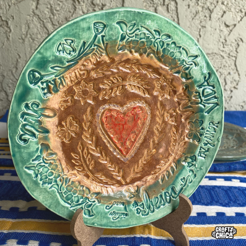 Stamped Clay Plate - Cappuccino Mint