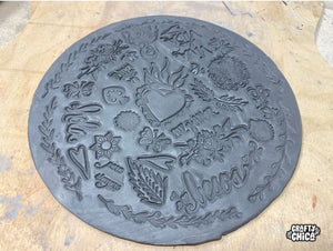 Stamped Clay Plate - Happy Heart