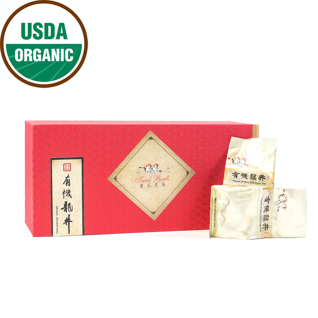 Organic Longjing  Green Tea Crimson GIFT BOX  (10g*20 packs)